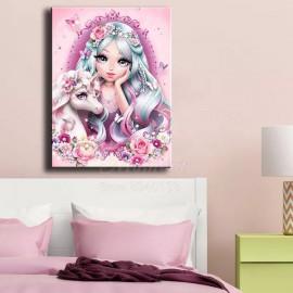 Gyönyörű lány unikornissal kreatív gyémánt kirakó készlet
