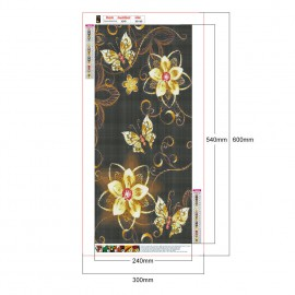 Arany virágok és pillangók fekete háttéren kreatív gyémánt kirakó készlet