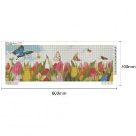 Nagy méretű színes tulipánok pillangókkal kreatív gyémánt kirakó készlet