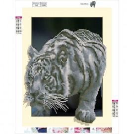 3D-s fehér tigris kreatív gyémánt kirakó készlet
