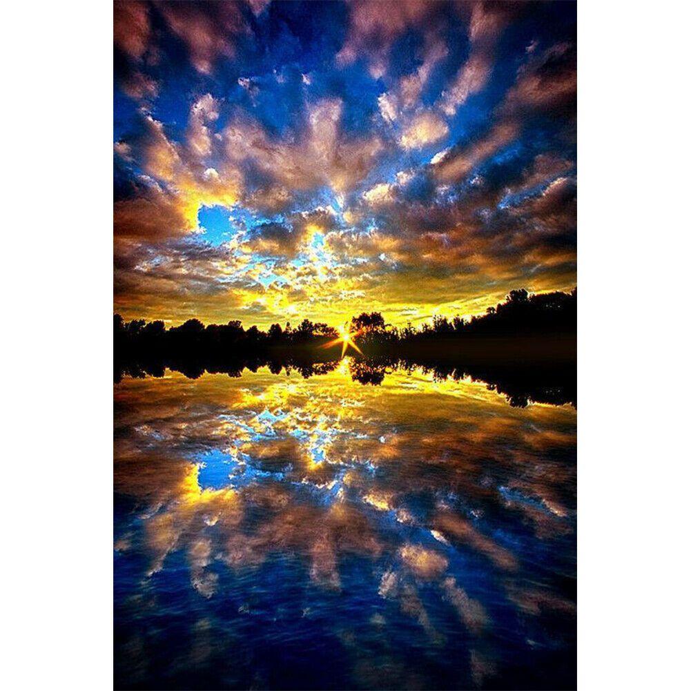 Tengerpart és naplemente kék színvilág kreatív gyémántkirakó készlet