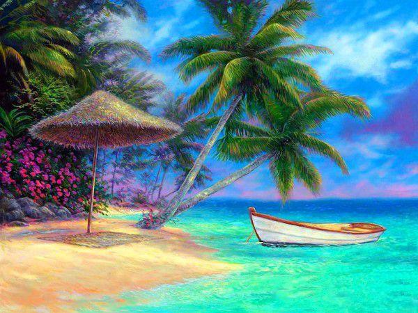 Napernyő, pálmafa, tengerpart és egy csónak életkép kreatív számfestő készlet