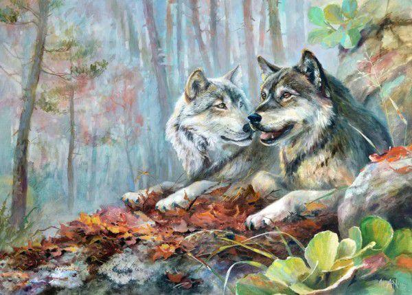 Farkasok az avarban kreatív számfestő készlet