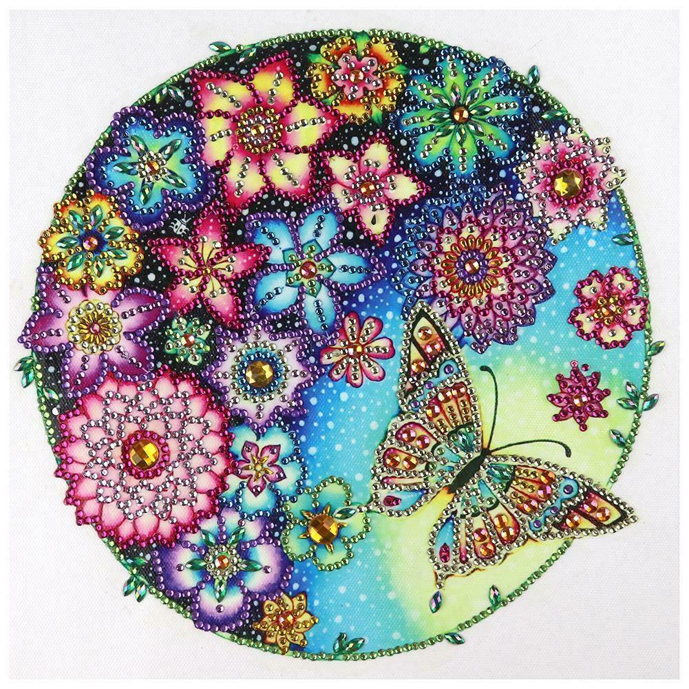Virágok és pillangó kör alakban kreatív gyémántkirakó készlet