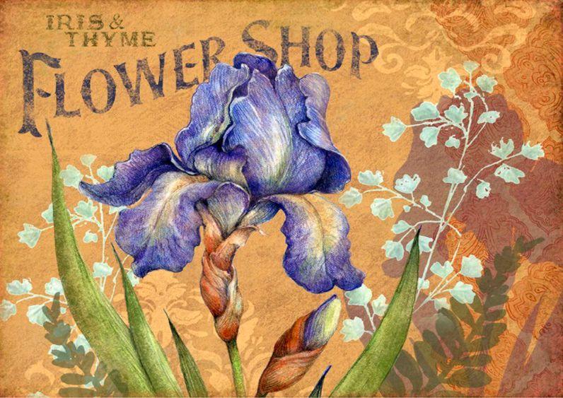 FlowerShop kék vintage virág kreatív gyémántkirakó készlet
