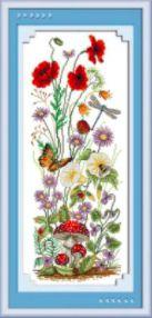 Pipacs, gomba, virág és pillangó keresztszemes kreatív készlet