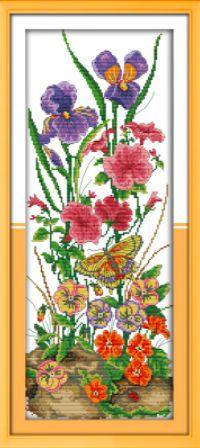 Virágok a földben keresztszemes kreatív készlet