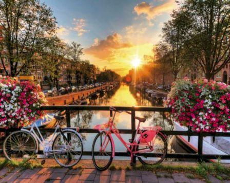 Biciklik a csatornánál kreatív számfestő készlet