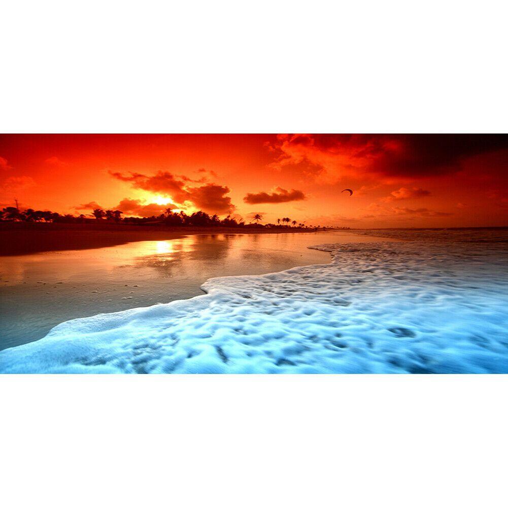 Nagy méretű piros tengerpart kreatív gyémántkirakó készlet