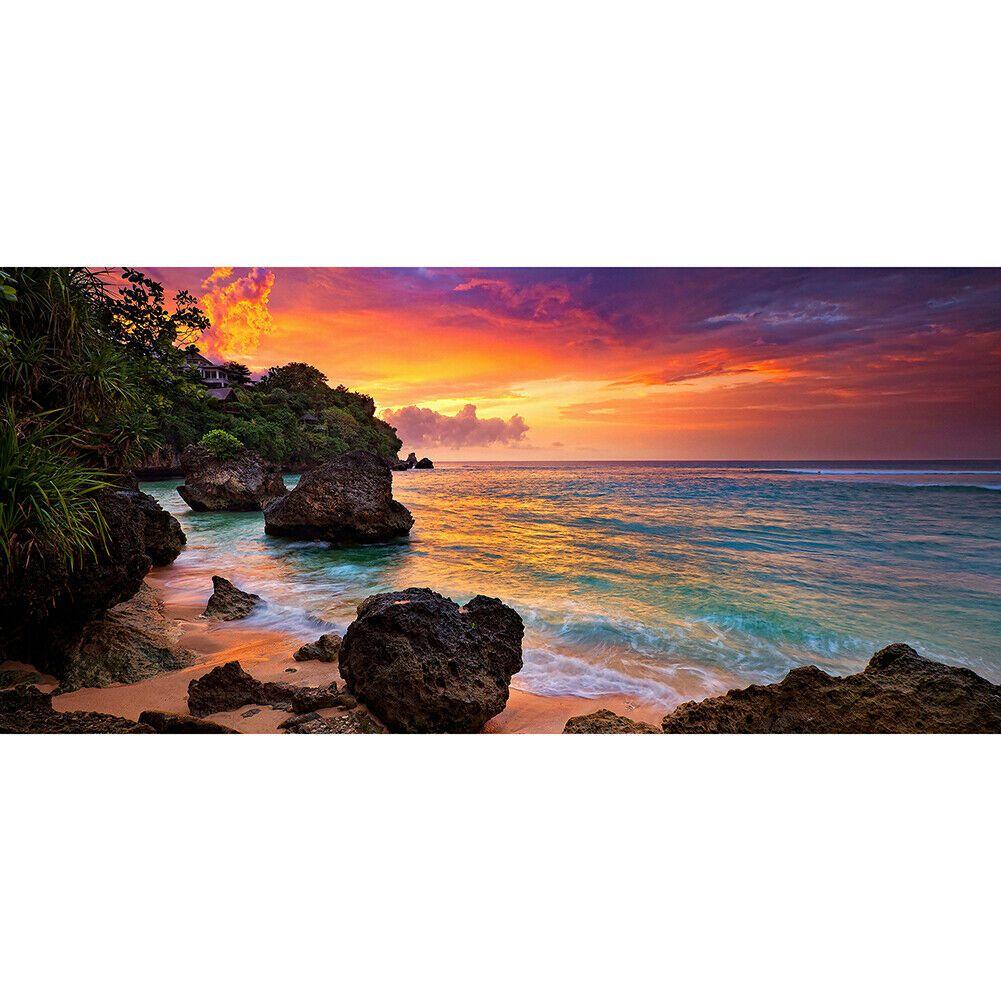 Nagy méretű színes tengerpart sziklákkal a parton kreatív gyémántkirakó készlet