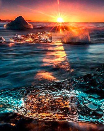 Naplemente a hullámok felett kreatív gyémántkirakó készlet
