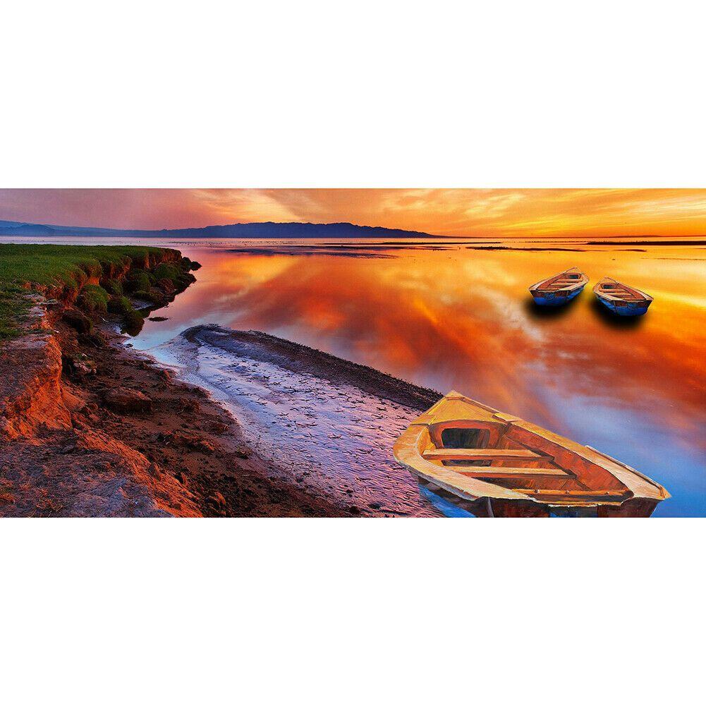 Nagy méretű csónakok a naplementében kreatív gyémántkirakó készlet