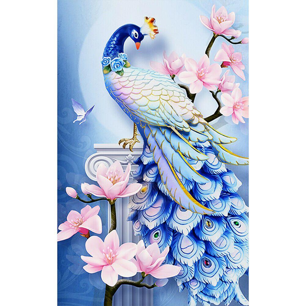Kék páva rózsaszín virágokkal kreatív gyémántkirakó készlet
