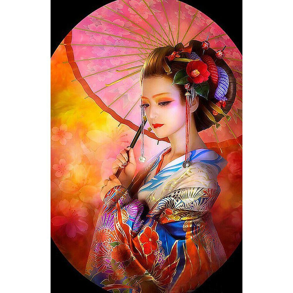 Színes gésa ernyővel kreatív gyémántkirakó készlet