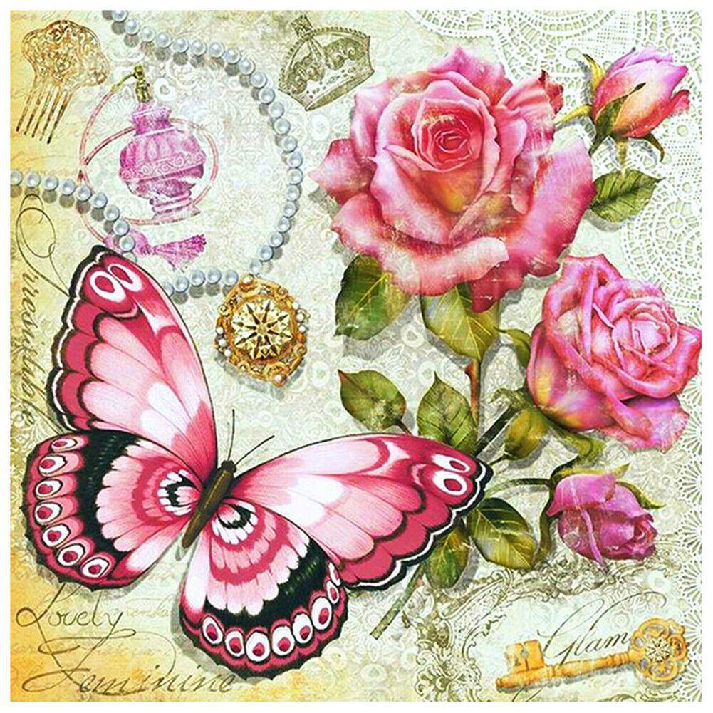 Vintage pillangó és virágok kreatív gyémántkirakó készlet