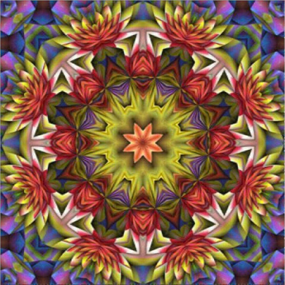 Piros zöld kővirágos mandala kreatív gyémántkirakó készlet