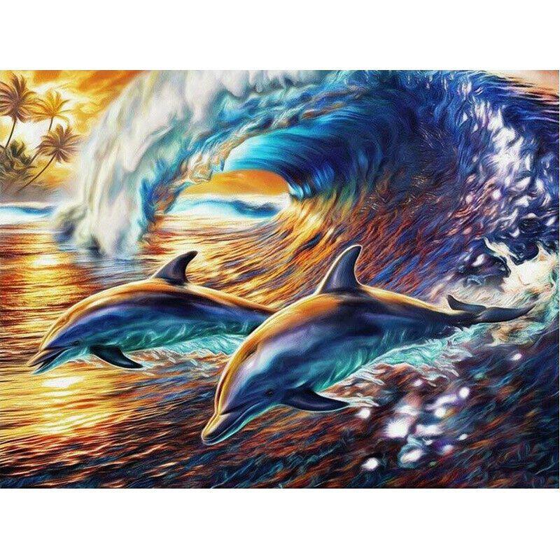 Két delfin a hullámok között kreatív gyémántkirakó készlet