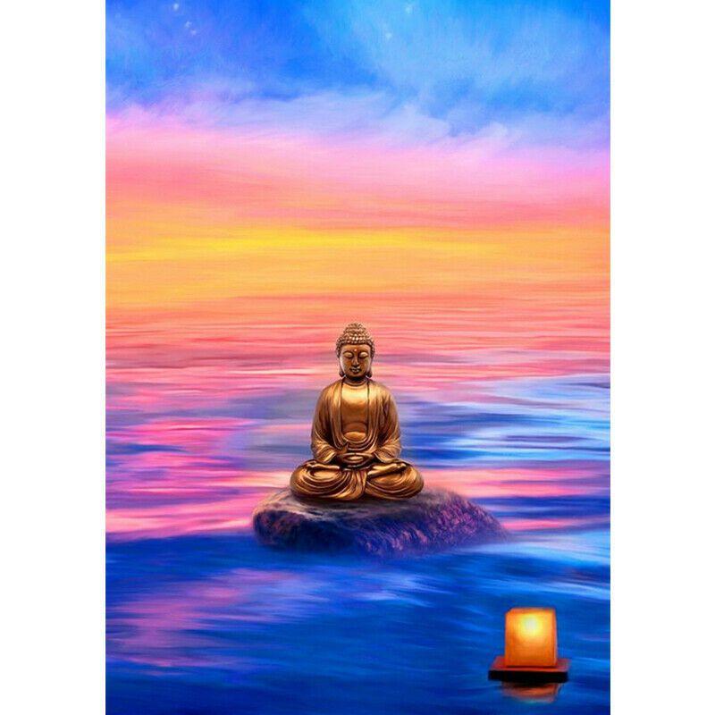 Buddha a színes naplementében kreatív gyémántkirakó készlet