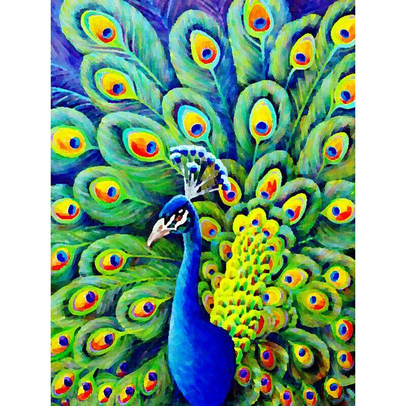 Kék páva zöld és sárga farktollal kreatív gyémántkirakó készlet