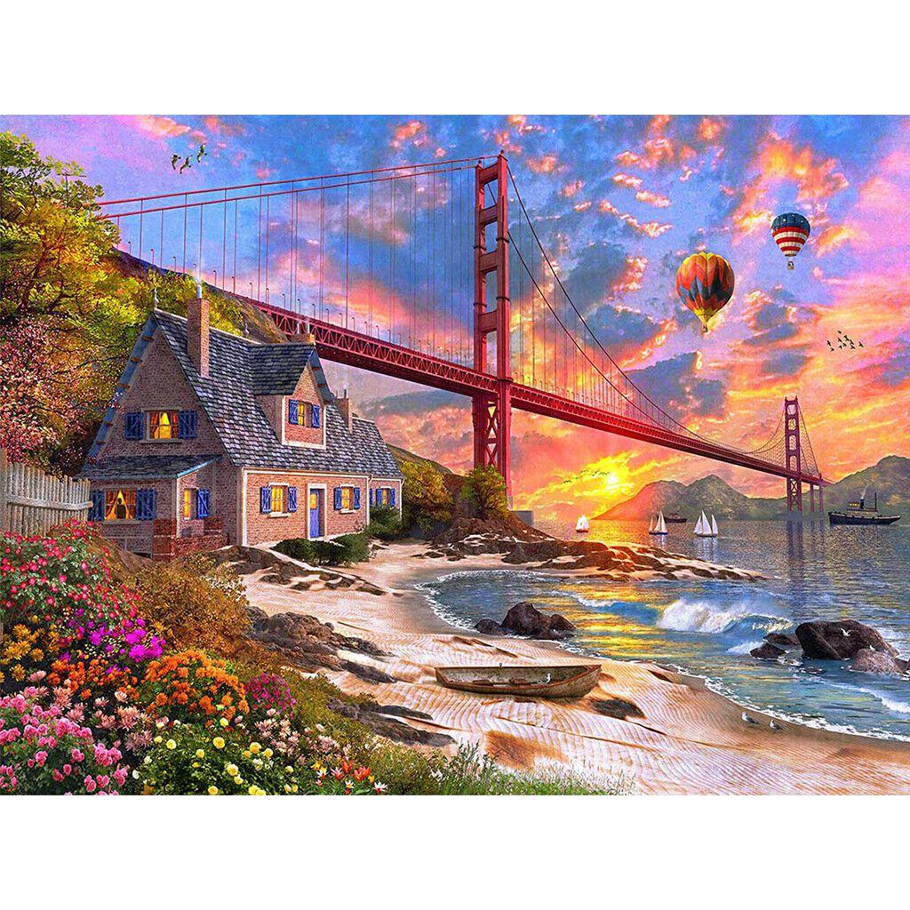 Golden Gate házzal a parton és léggömbökkel a háttérben kreatív gyémántkirakó készlet