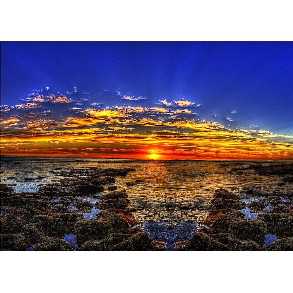 Sziklás tengerpart naplementével kreatív gyémántkirakó készlet