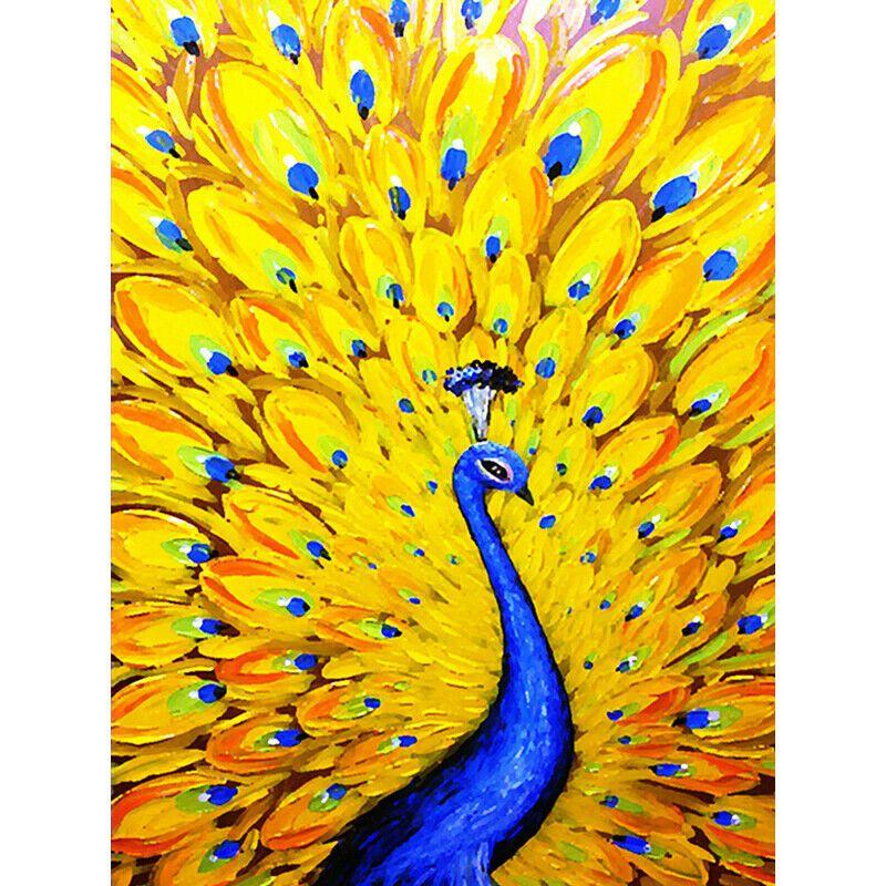 Kék páva sárga farktollal kreatív gyémánt kirakó