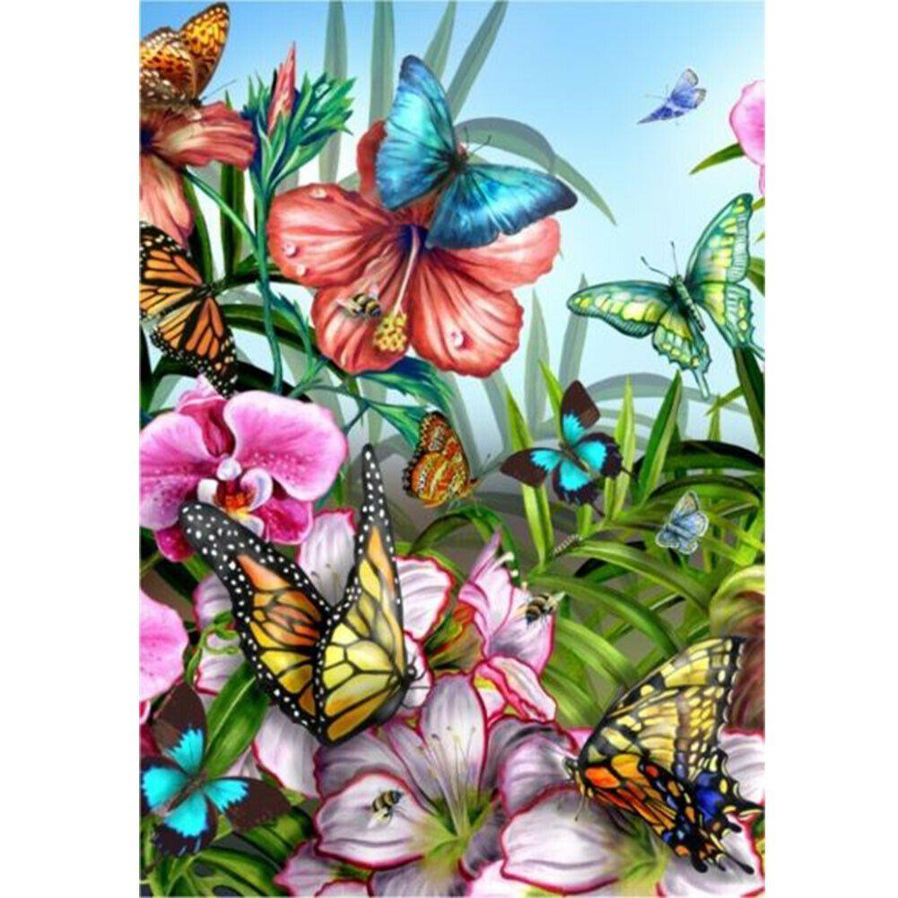 Színes virágok és pillangók kreatív gyémánt kirakó készlet