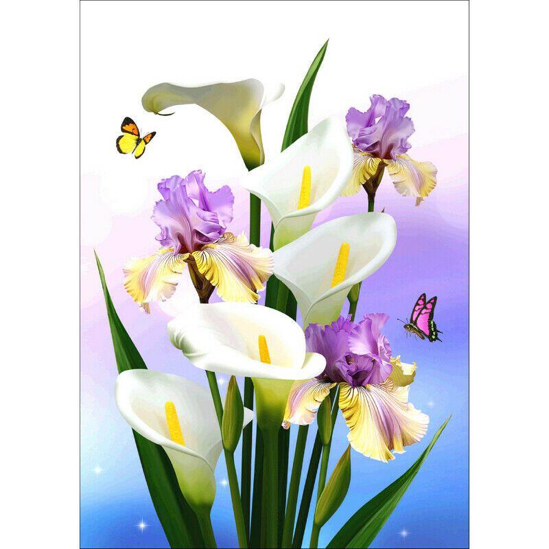 Kálák lila virággal és pillangókkal kreatív gyémánt kirakó