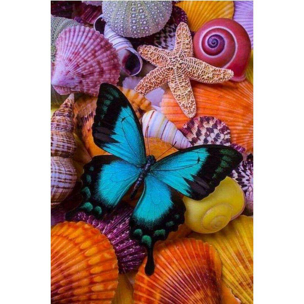 Kék pillangó kagylókon kreatív gyémánt kirakó készlet