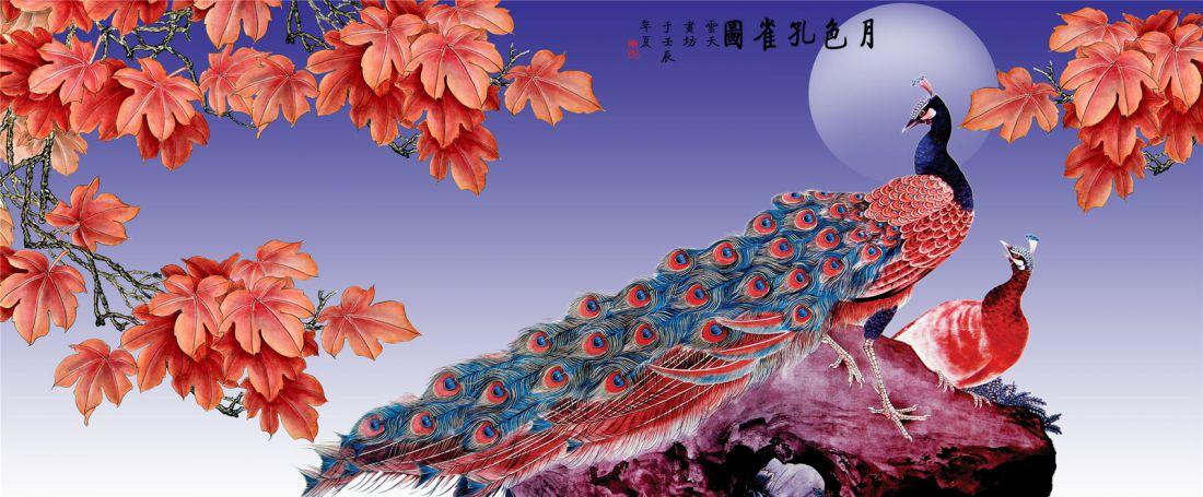 Nagy méretű páva piros farktollal kreatív gyémánt kirakó készlet