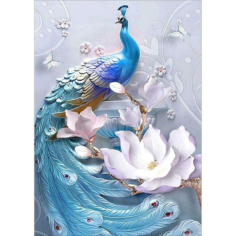 Kék páva romantikus fehér virágokkal kreatív gyémánt kirakó készlet
