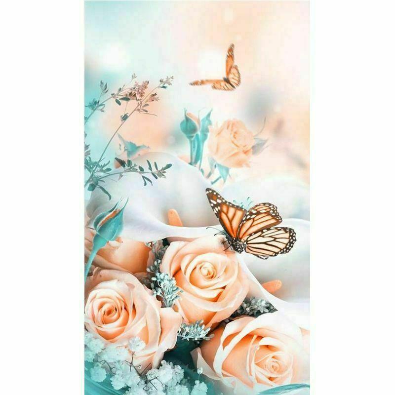 Barack színű rózsák pillangókkal kreatív gyémánt kirakó készlet