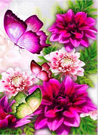 Élénklila virágok és pillangók kreatív gyémánt kirakó készlet