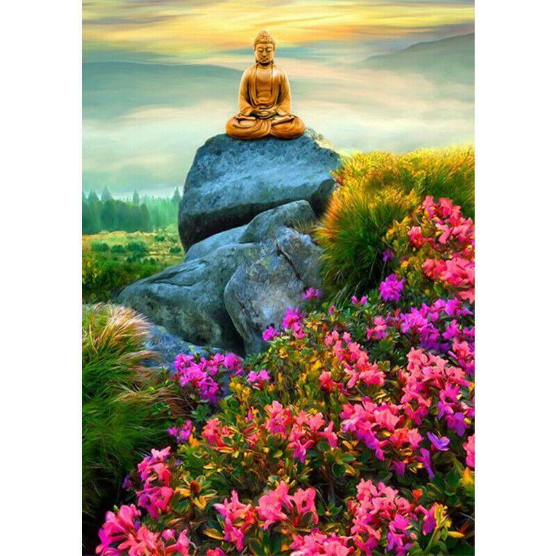 Buddha a szikla tetején rózsaszín virágokkal kreatív gyémántkirakó készlet